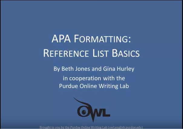 APA Formatting video