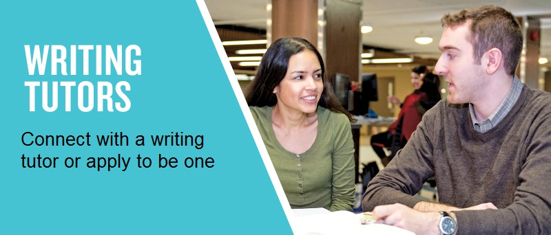 An image of a student working with a writing tutor, advertising the writing tutor services.