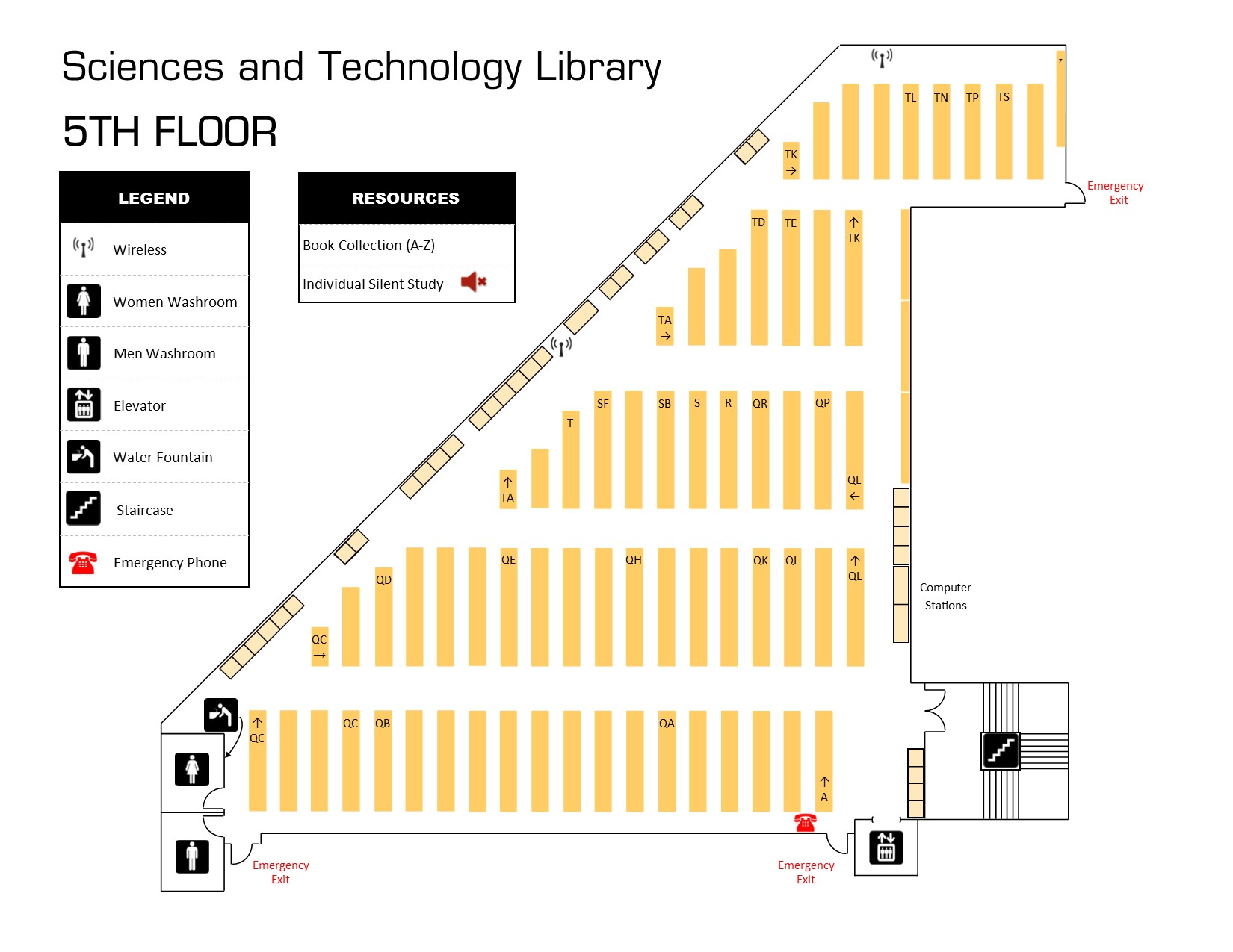 Picture file (JPEG) showing the fifth floor layout of the Sciences and Technology Library