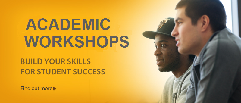 An image advertising the Academic Workshops webpage. The ad features two students eager to learn.