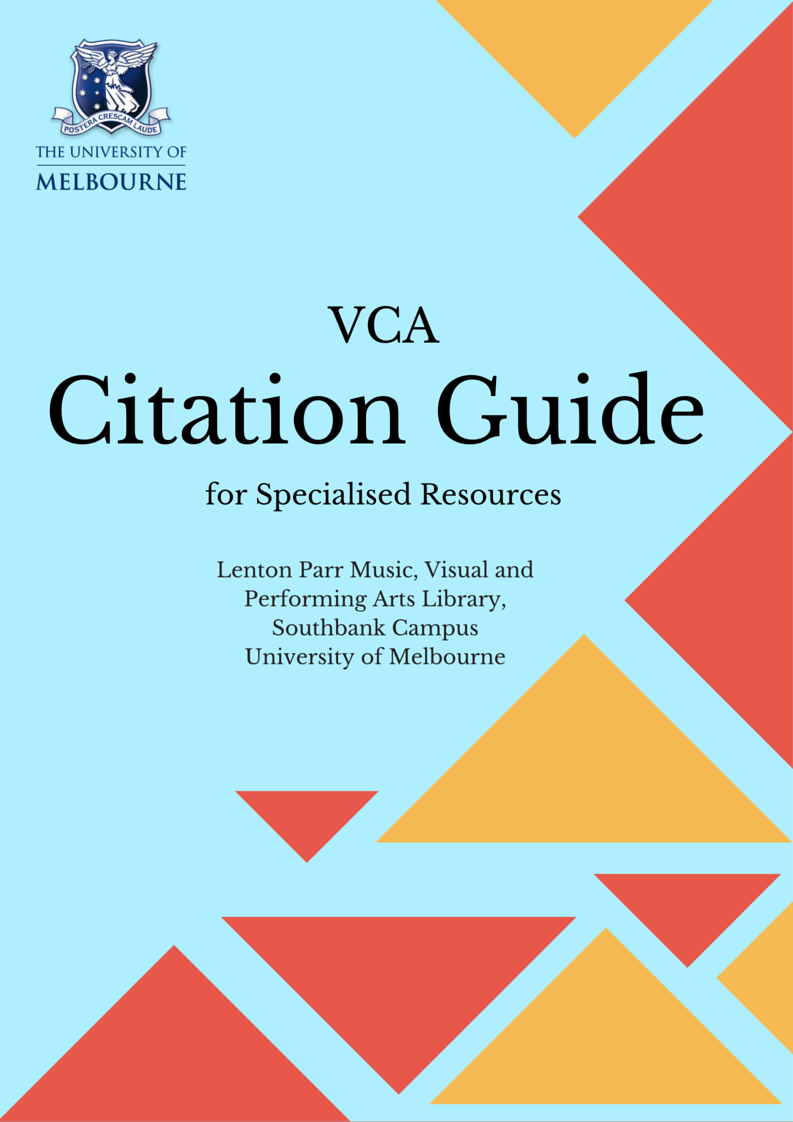 Vca Citation Guide For Specialised Resources: Chicago 16a