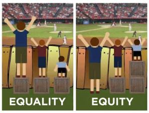 Equity: Boys standing on boxes to see over a fence with taller boxes for shorter boys