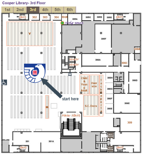 Map of 3rd floor showing Federal Documents area