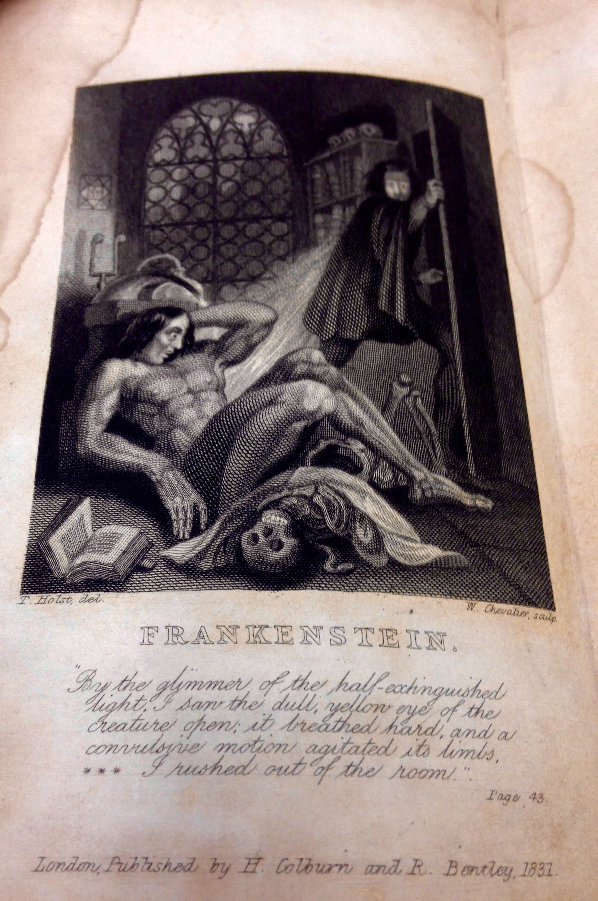 Image from Inside Cover of Frankenstein 1831 edition