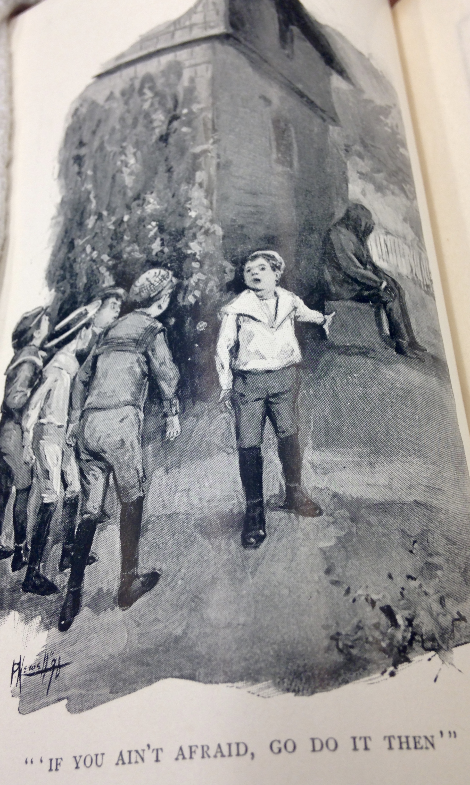 "Image of boy talking to four friends with caption ""If you ain't afraid, go do it then"""