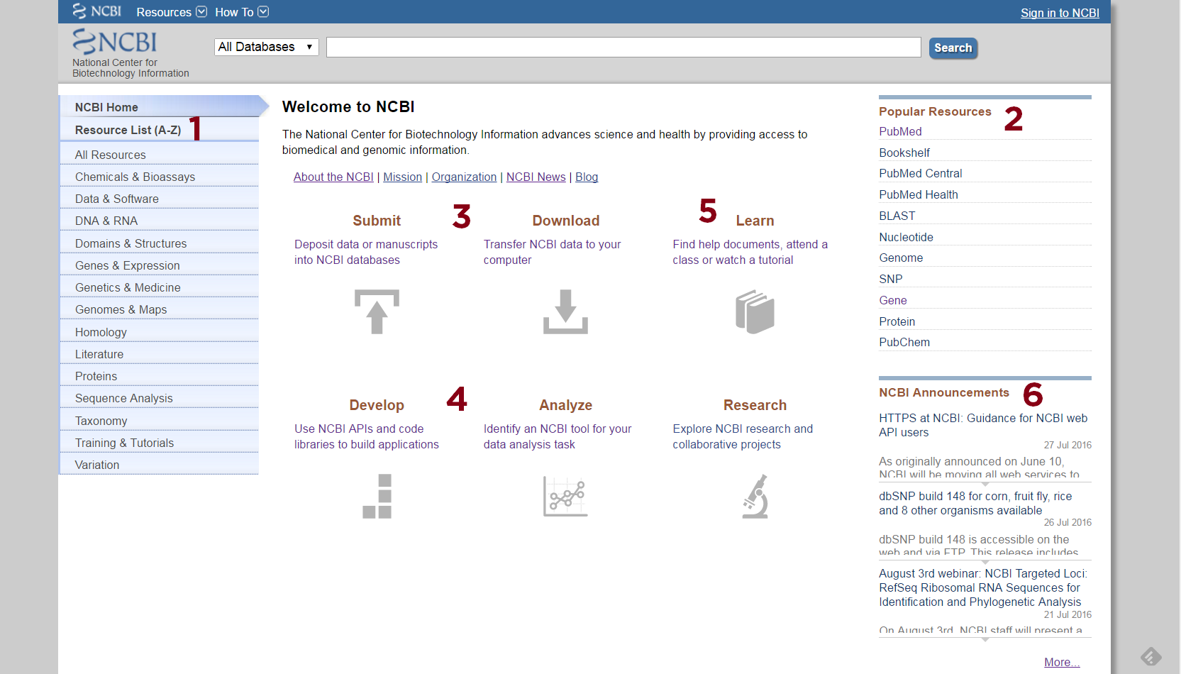 NCBI Home page with numbers 1-6 on respective page features