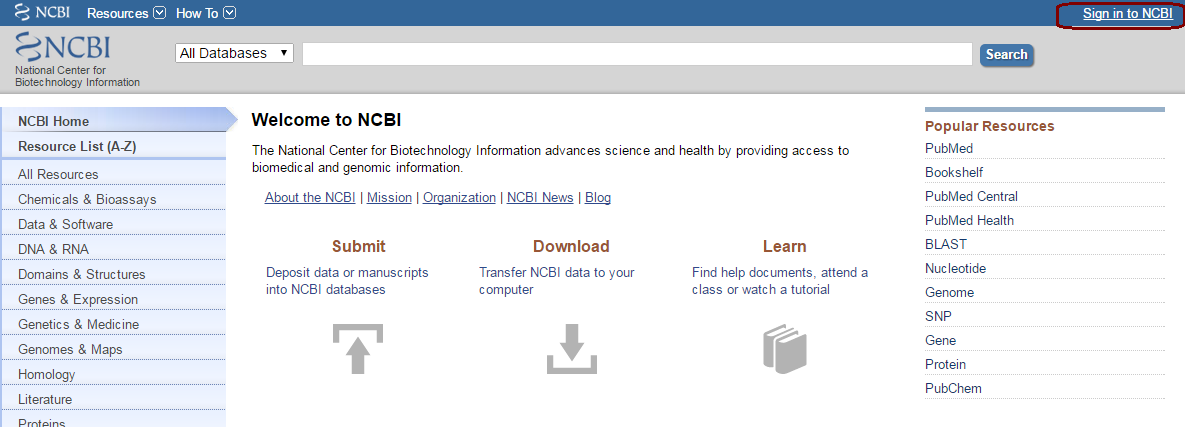 NCBI Homepage with rectangular box around Sign in to NCBI hyperlink in top right hand corner