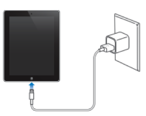 Drawing of iPad charging in a wall.