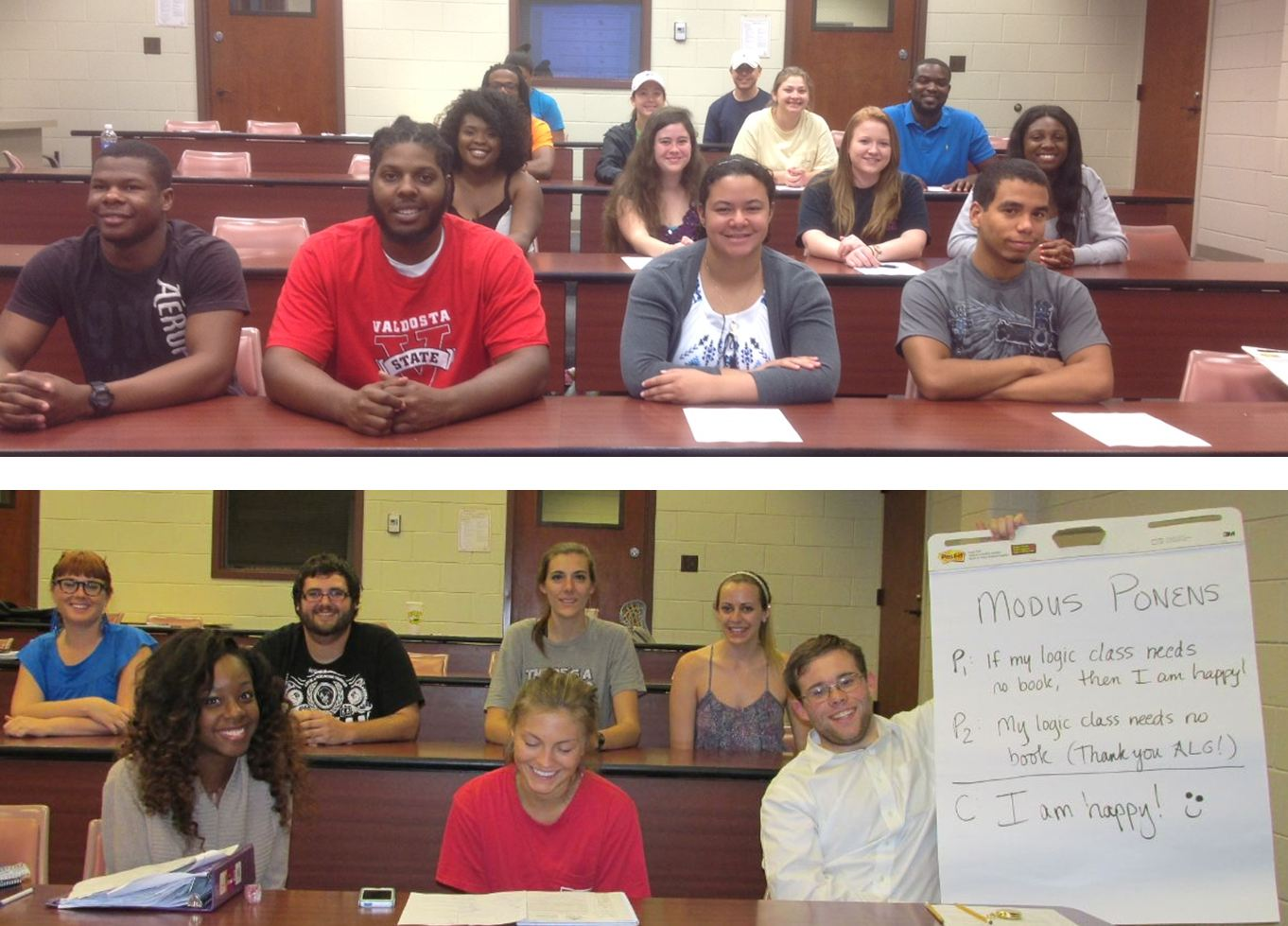 Two images of the students from the sections of PHIL 2020 who were piloting the Affordable Learning Georgia program.