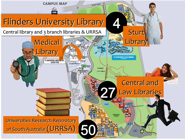 Map of flinders showing the branch libraries