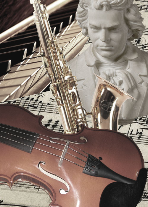 Music can mean many things. Image of Beethoven, saxophone, keyboard and score.