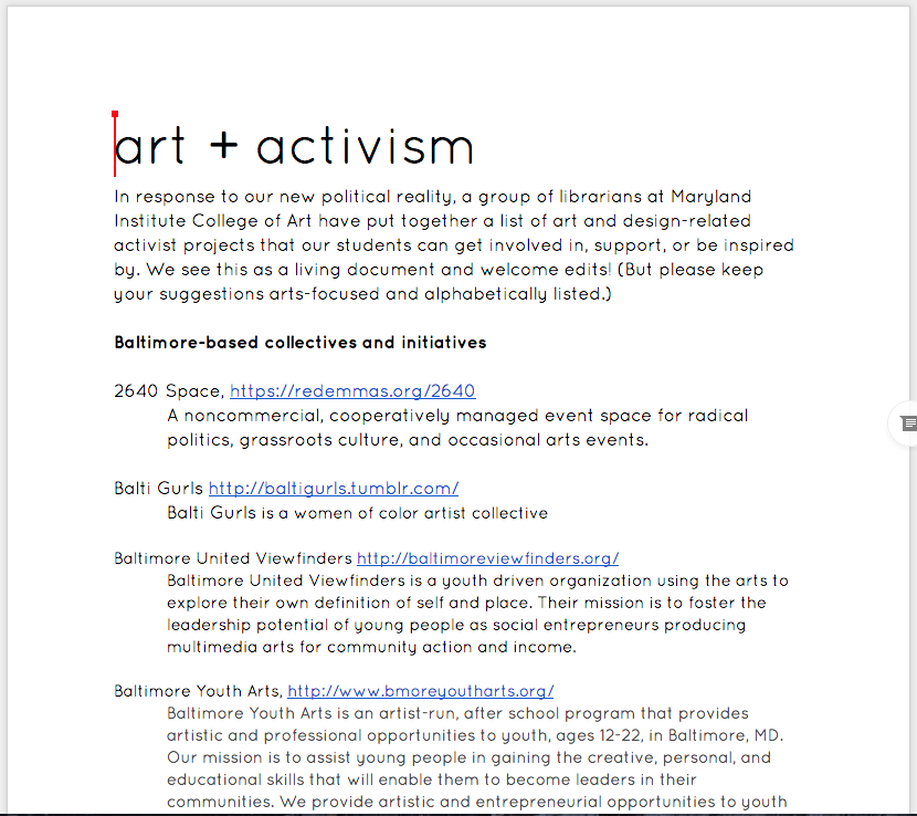 Art and Activism Projects Google Doc