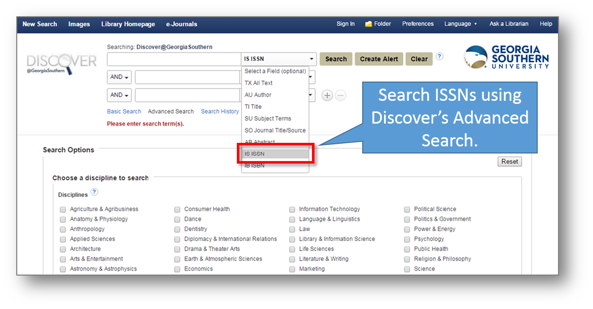 Discover Advanced Search with ISSN Callout