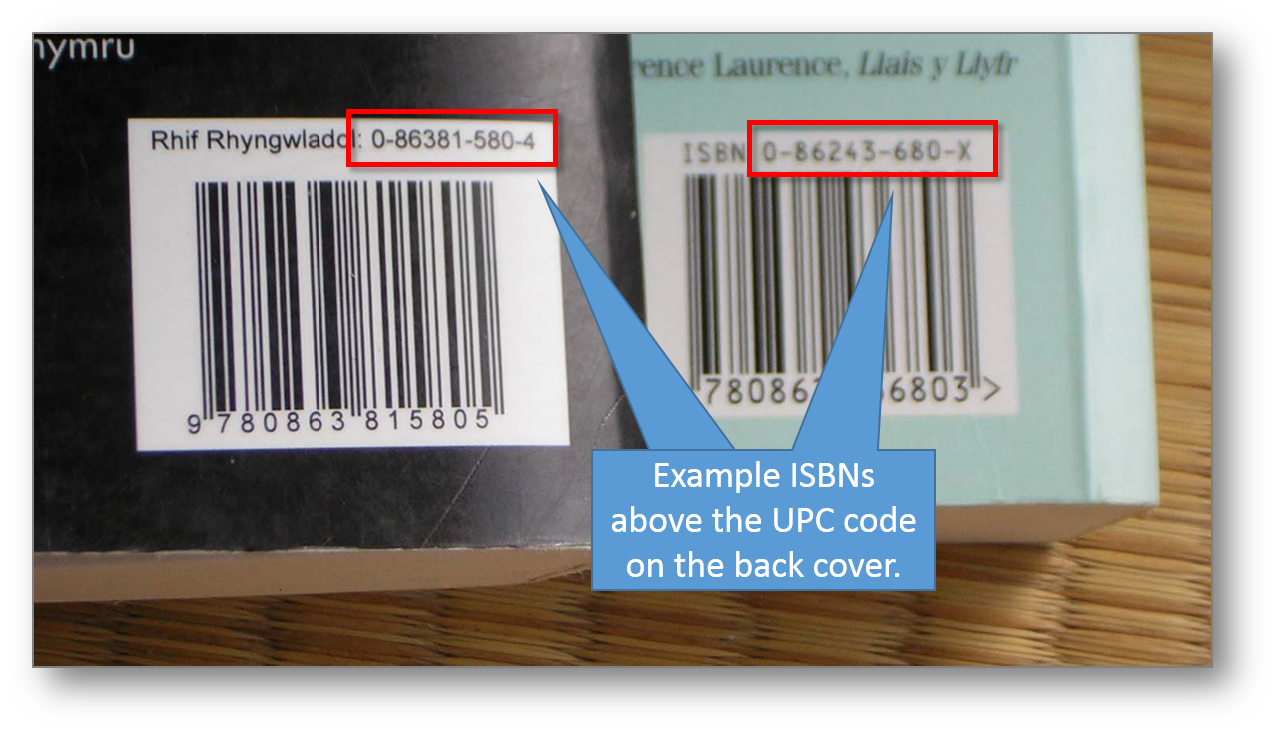 Example ISBNs above the UPC code on the back cover. Adapted with permission from https://upload.wikimedia.org/wikipedia/commons/d/d2/ISBN.JPG