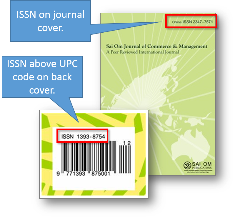 ISSN on front and back journal covers