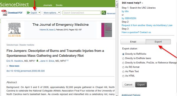 Find@UNC Journal Article Screenshot