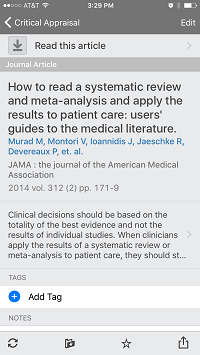 Mendeley Article Citation View on iPhone