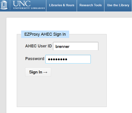 AHEC Sign In Screenshot