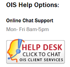 Screen Capture of OIS Help Options