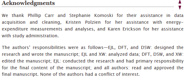 Screenshot of Acknowledgement Section of Example Paper