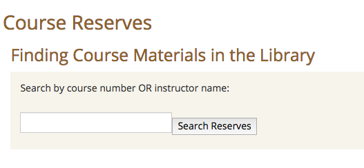 Course Reserves Search Box