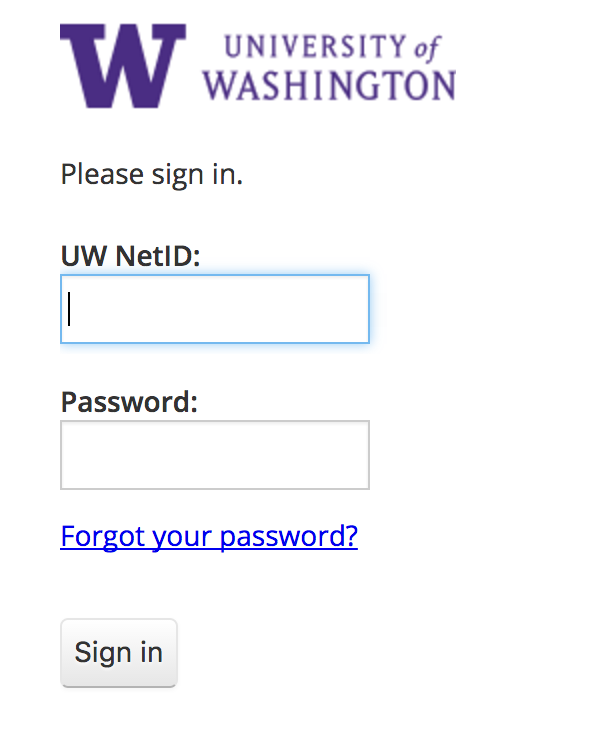 Image of the UW NetID login page.