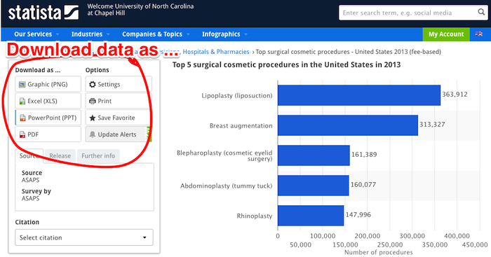 download data in Statista