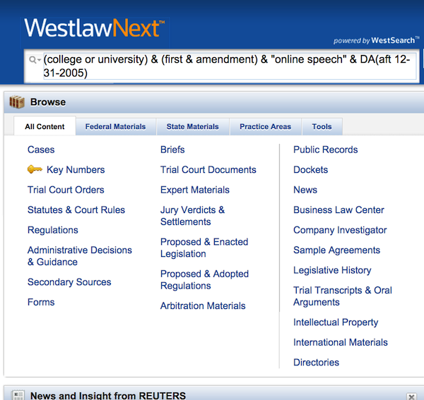 Search box search in Westlaw Next