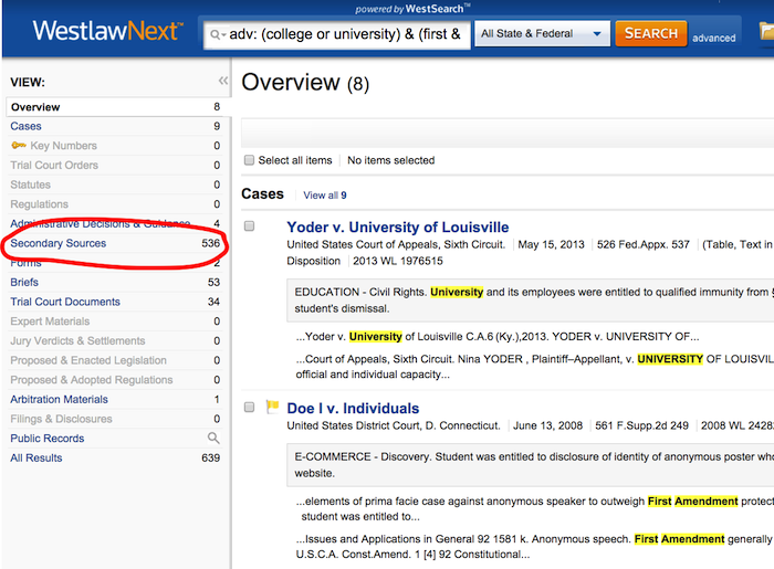 Westlaw Next Results - click to see law review articles