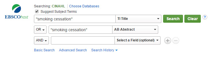 CINAHL Title Abstract Search