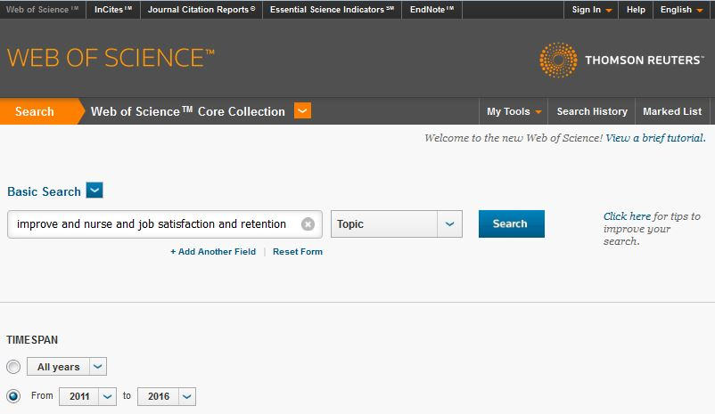 Web of Science Search Page