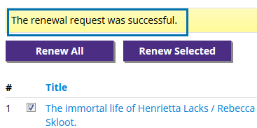 Renewal request was successful message.