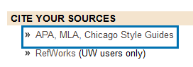 APA, MLA, Chicago Style Guides link