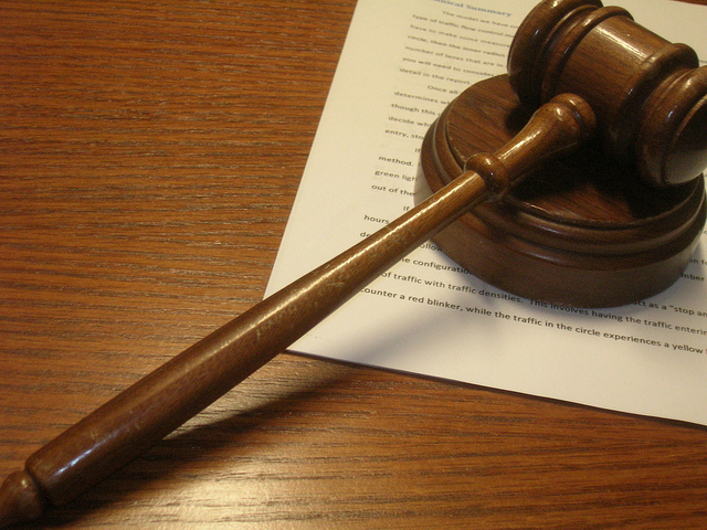 Image of Gavel on Legal Document