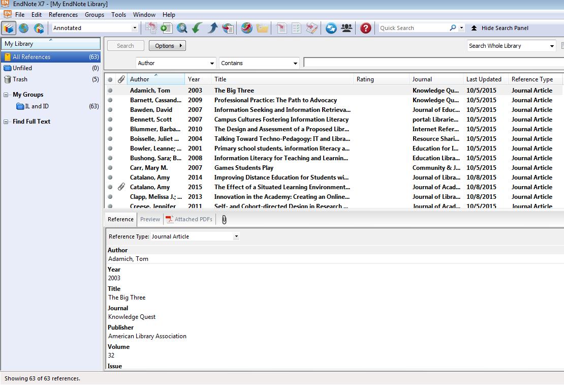 Using Endnote Forps Edit 8990: Doctoral Seminar Galileo