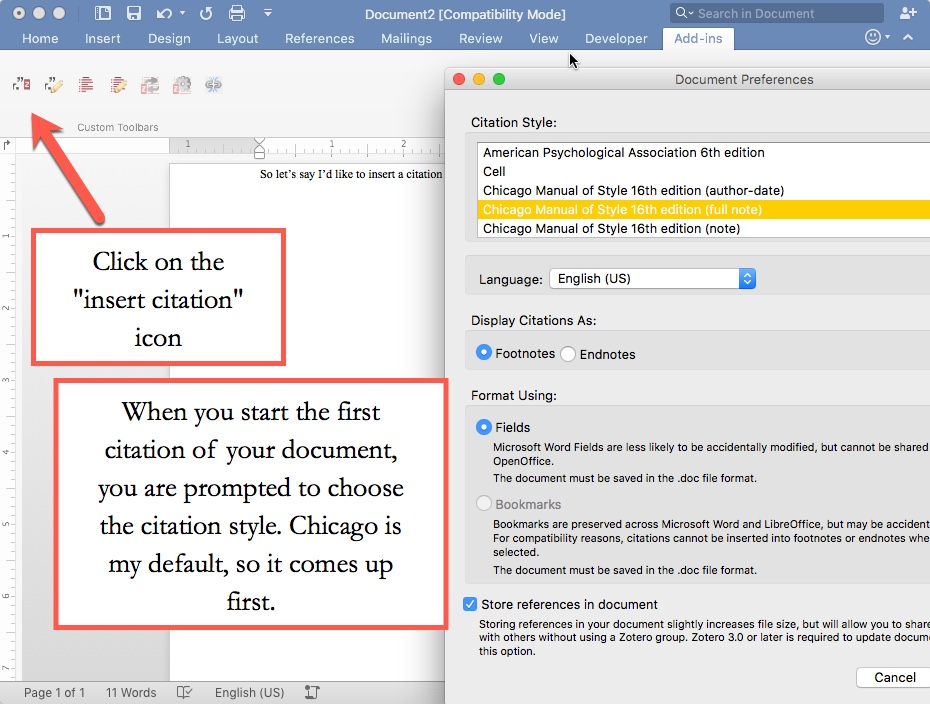 Step 1 to insert a citation using Zotero in Word
