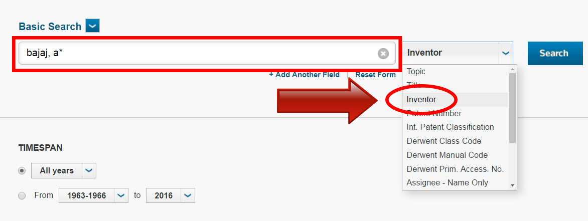 Type in your instructor's last, comma, first letter of their first name & then select Inventor in the drop-down menu.