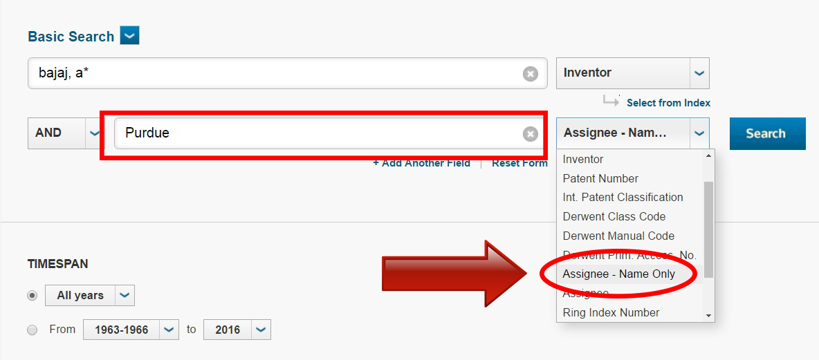 Type in Purdue in the second search box, & select Assignee - Name Only in the drop-down menu on the right.