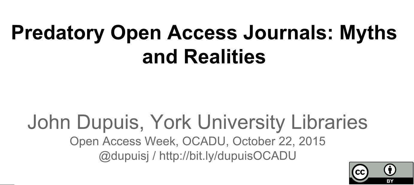 Predatory Open Access Journals Dupuis