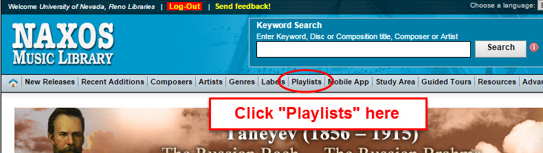Screenshot NAXOS website playlists link