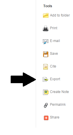 "Example with arrow pointing to ""Export"""