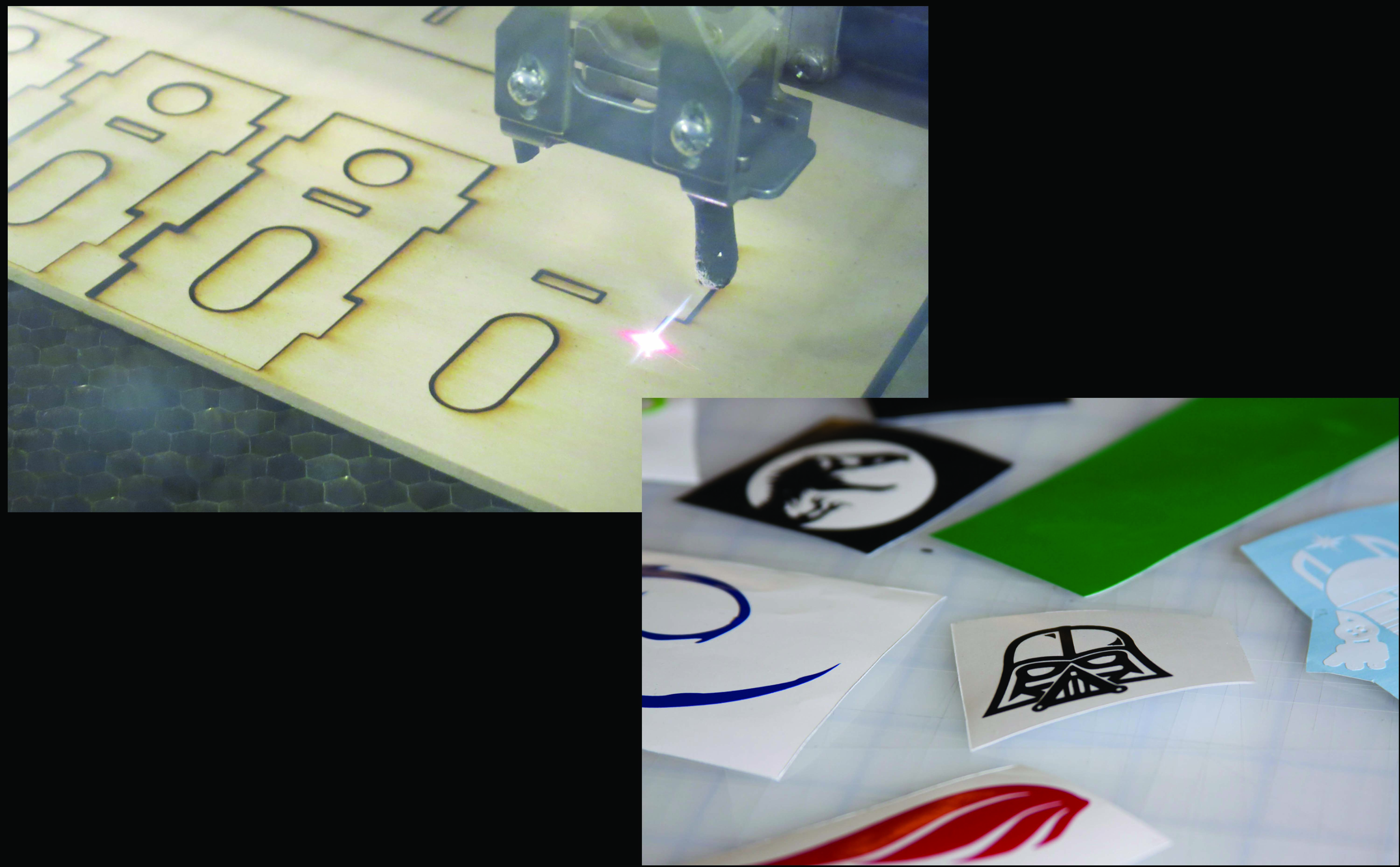 Laser cutter cutting wood and examples of vinyl stickers.