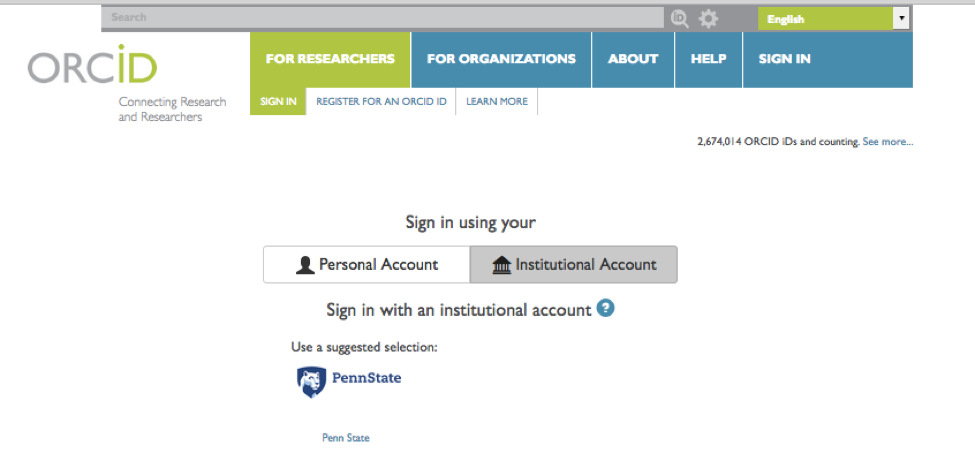 ORCiD sign in page showing Penn State as a linked account