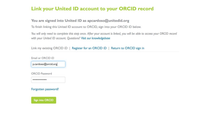 the online form used to link your ORCiD with your Penn State account