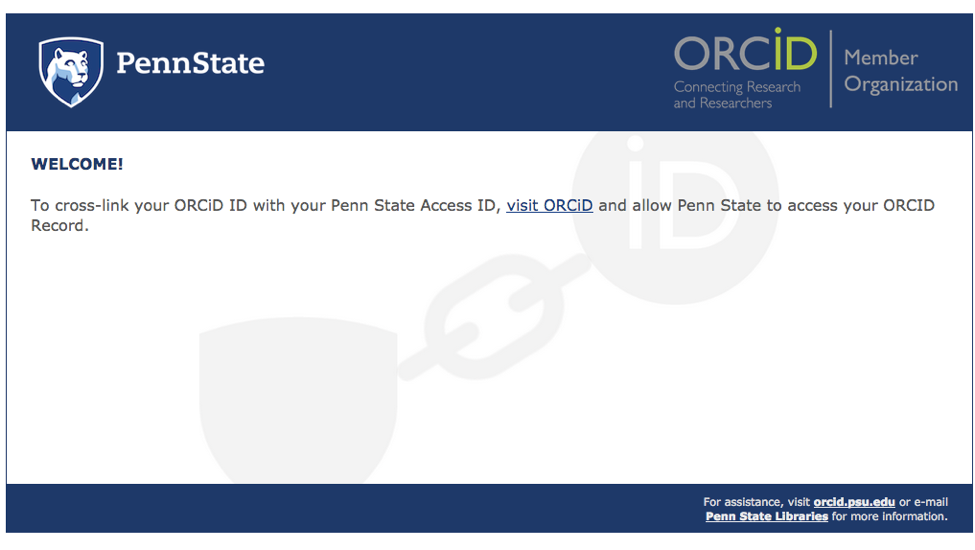 "the ""Visit Orcid"" link."