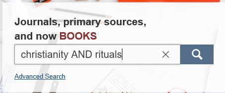 search for Christianity AND rituals in JSTOR database