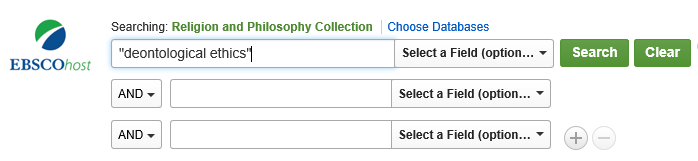 "search for ""deontological ethics"" in the Religion & Philosophy Collection database"