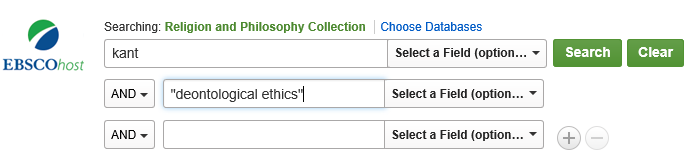 "search for Kant AND ""deontological ethics"" in the Religion and Philosophy Collection database"