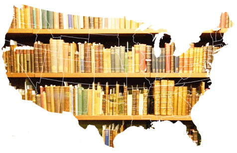 A photo of shelves of books lie inside the outline of a map of the United States