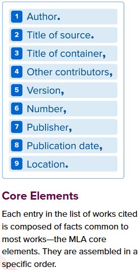 MLA Core Elements